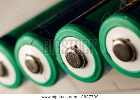 Aa Batteries In Focus On White