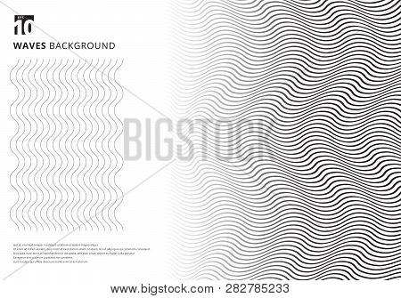Abstract Template Black Wavy Stripes Curved Ripple Lines Texture On White Background With Copy Space