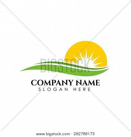 Sunrise Logo Design Template. Nature Green Landscape Vector Illustration