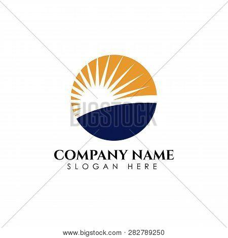Sunrise Logo Designs Template. Sun Over Horizon Vector Illustration Icon Logo Template