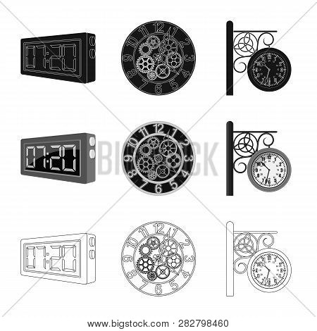 Vector Illustration Of Clock And Time Icon. Collection Of Clock And Circle Vector Icon For Stock.