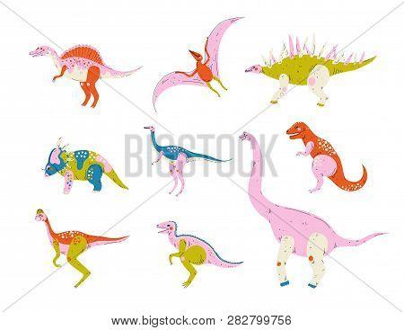 Collection Of Colorful Dinosaurs, Pterodactyl, Carnotaurus, Styracosaurus, Diplodocus, Compsognathus