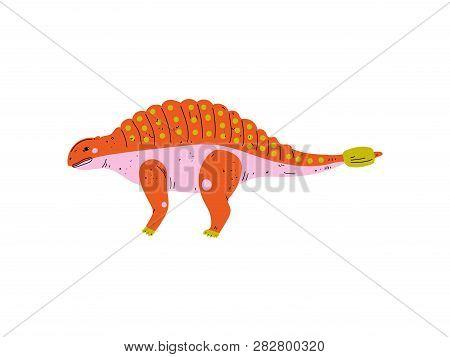 Colorful Ankylosaurus Dinosaur, Cute Prehistoric Animal Vector Illustration