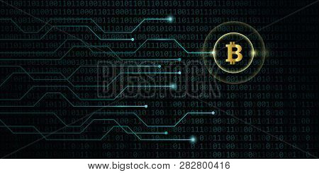 Golden Bitcoin Crypto Currency With Blue Binary Code Background Vector Illustration Eps10