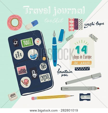 Hand Drawn Flat Style Travel Journaling Toolkit. Art Journal Essentials - Sketchbook In Cover With S