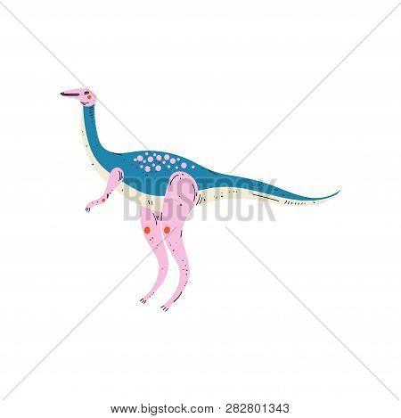 Colorful Diplodocus Dinosaur, Cute Prehistoric Animal Vector Illustration