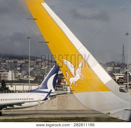 Istanbul, Turkey - Sep 30, 2018. Winglet Of Pegasus Airbus A320neo At Istanbul Sabiha Gokcen Airport