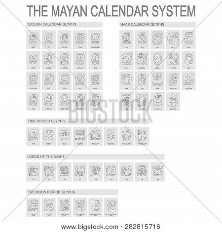 Vector Icon Set With Mayan Calendar System And Associated Glyphs
