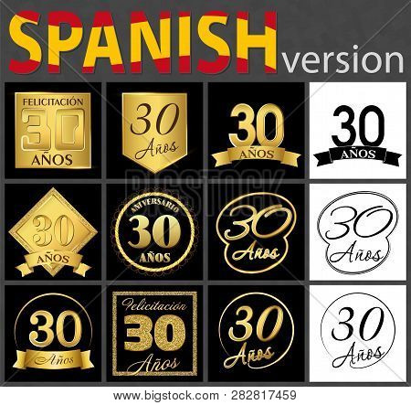 Set Of Number Thirty Years (30 Years) Celebration Design. Anniversary Golden Number Template Element