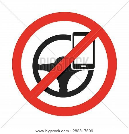 No Cell Phone, While Driving. Vector Sign