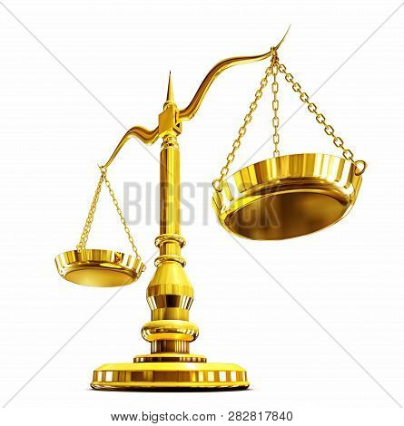 3d Rendering Of A Golden Scale Against A White Background