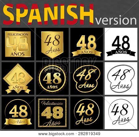 Set Of Number Forty-eight Years (48 Years) Celebration Design. Anniversary Golden Number Template El