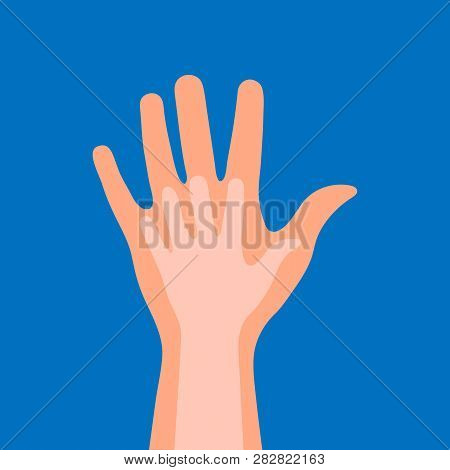 Child's Hand In Adult's Hand On A Blue Background