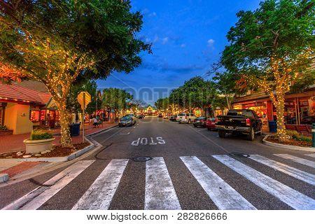 Solvang, California, United States - August 10, 2018: Urban Street Scene In Solvang Illuminated By N