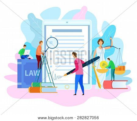 Electronic Signature. Court Decision. Themis Holding Justice Scale. Money And Lamp Idea On Scale. In