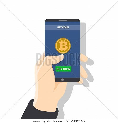 Hand Holding Smartphone With Bitcoin Icon On Screen With Golden Coin, Wallet, Button Pay. Pay Per Cl