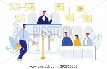 Judge and Jury in Courtroom. Witnesses and Attorney. Happy People. Money, Gavel and Handcuffs. Evidence on Scale. Legislation Concept. Modern Occupation. Career and Workplace Concept. Vector EPS 10. poster