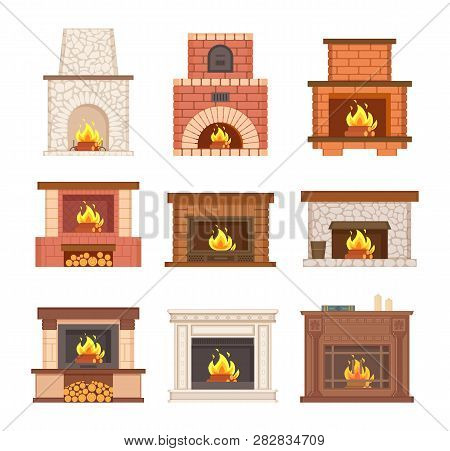 Glowing Fireplace From Stone, Brick And Wooden Vector. Designer Chimney With Burning Woods And Logs