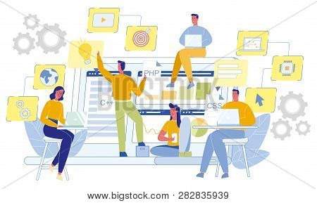 Team Of Software Developers. Css, Php And C Icons. Coding Programming Languages. Web Engineer Concep