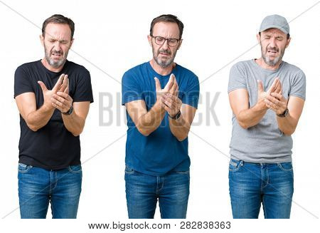 Collage of handsome senior man over white isolated background Suffering pain on hands and fingers, arthritis inflammation