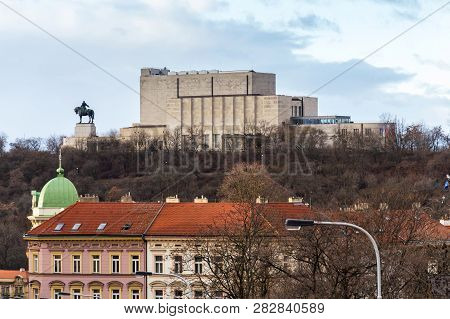 Prague Panorama With Jan Zizka Equestrian Statue In Front Of National Memorial Vitkov, Czech Republi