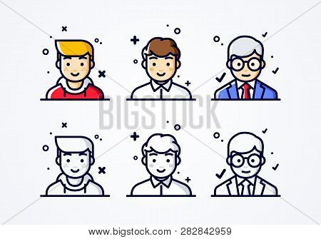 Vector Linear Flat People Faces Icon Set. Social Media Avatar, User Pic And Profil. User Experience