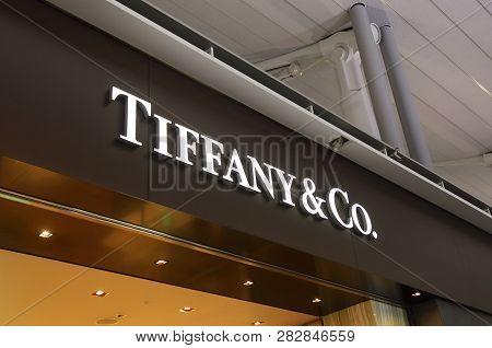 Osaka Japan - November 14, 2018: Tiffany And Co Company Logo. Tiffany And Co Is An American Worldwid