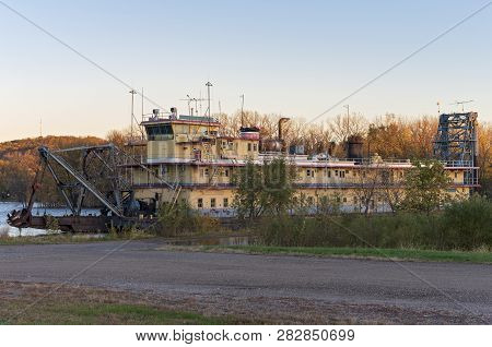Abandoned Riverboat On Mississippi River In Prairie Du Chien Wisconsin