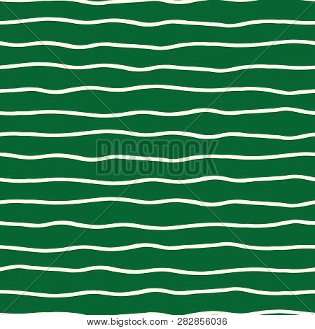 Horizontal Hand Drawn Organic Doodle Lines On Green Background. Seamless Vector Pattern. Perfect For