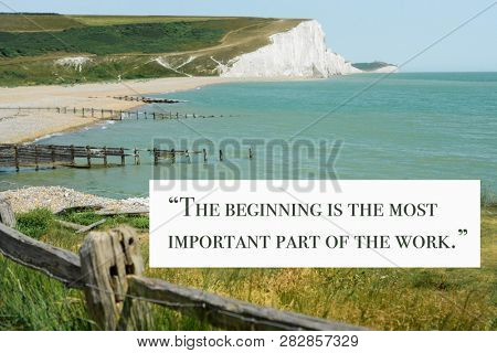 Inspirational quote by ancient Greek philosopher Plato against nature background
