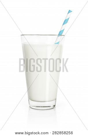 Glass Of Fresh Milk With Drinking Straw, Isolated On White Background. Pure Milk, Soy Milk Or Cow Mi