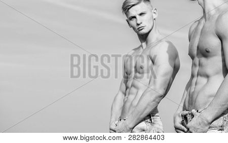 Muscular Healthy Athletic Body. Sexy Torso Attractive Body. Masculinity Concept. Men Twins Brothers