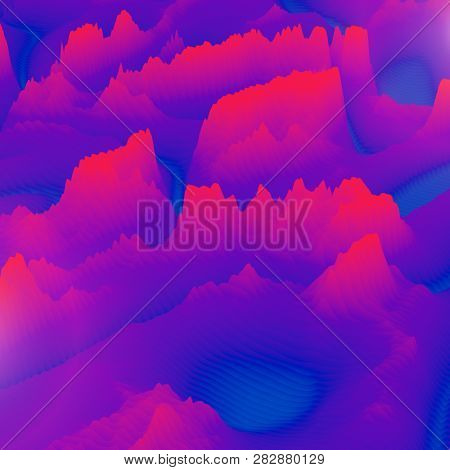 Mountain shape background. Abstract papercut illustration. Surrealistic terrain. Colorful equalizer visualisation. 3d render. poster