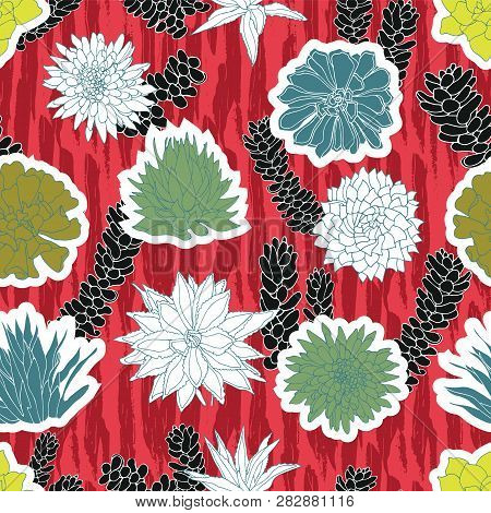 Colorful Cutout Shapes Of Succulent Plants In A Sticker-like Style Layered On Top Of A Red Zebra Bru