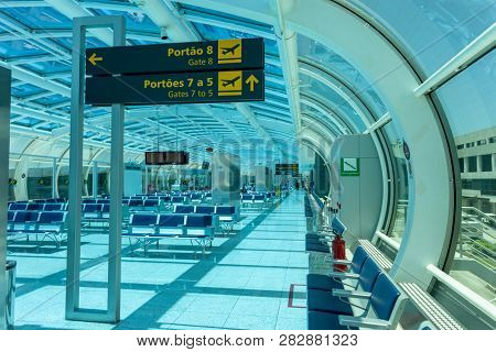 RIO DE JANEIRO, BRAZIL - March 22: Santos Dumont Airport on March 22, 2014 in Rio de Janeiro, Brazil. Santos Dumont Airport is a domestic airport in Rio de Janeiro. - Imagem