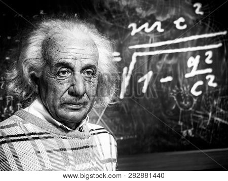 BANGKOK, THAILAND - JANUARY 08, 2019: Albert Einstein wax figure at Madame Tussauds wax museum