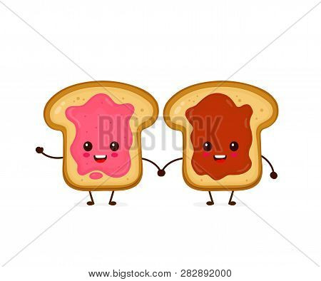Happy Cute Smiling Funny Kawaii Toasts With Jam And Peanut Butter.vector Flat Cartoon Character Illu