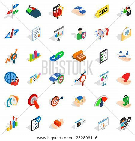 Fast Career Icons Set. Isometric Style Of 36 Fast Career Career Icons For Web Isolated On White Back