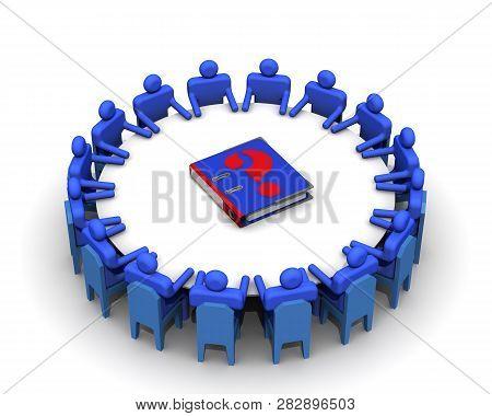 Problem Solving. Concept. Symbolic People Sitting At A Round Conference Table And In The Center Of W