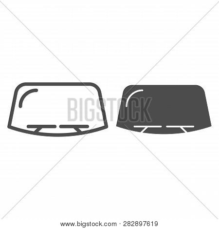 Windshield Line And Glyph Icon. Car Window Vector Illustration Isolated On White. Windscreen Outline