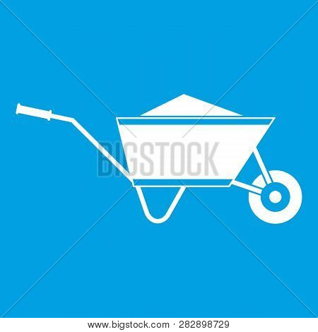 Wheelbarrow with sand icon white isolated on blue background illustration poster