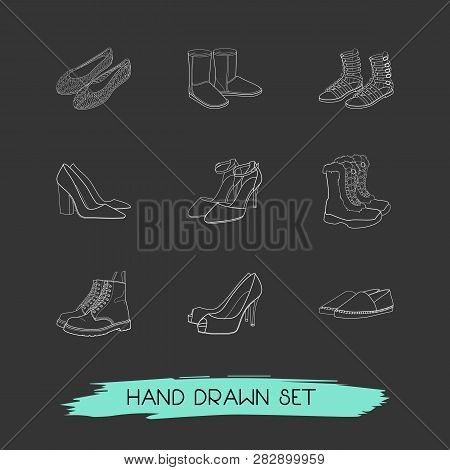 Set Of Design Icons Line Style Symbols With Chunky Heel, Jellies Shoes, Gladiator Boots And Other Ic