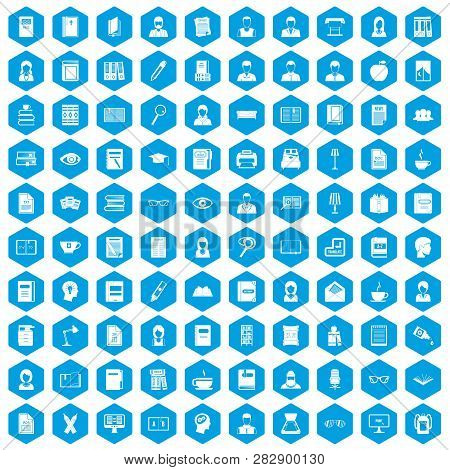 100 Reader Icons Set In Blue Hexagon Isolated Illustration