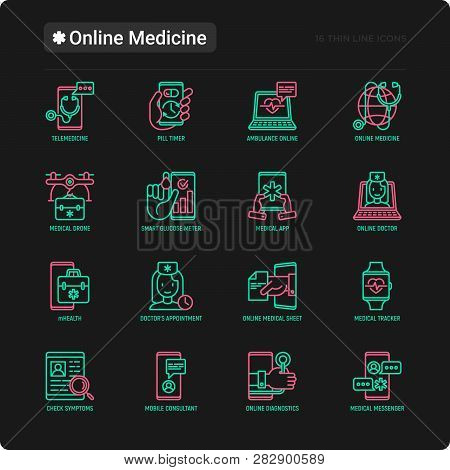Online Medicine, Telemedicine Thin Line Icons Set: Pill Timer, Ambulance Online, Medical Drone, Medi