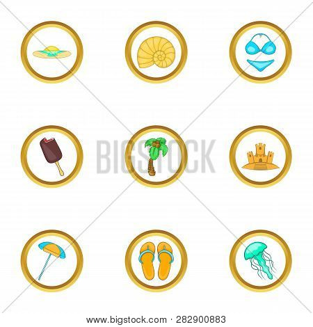 Summer Trip Icons Set. Cartoon Set Of 9 Summer Trip Icons For Web Isolated On White Background