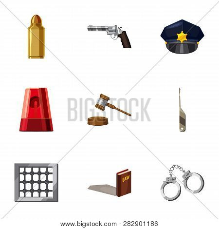 Crime Prevention Icons Set. Cartoon Set Of 9 Crime Prevention Icons For Web Isolated On White Backgr