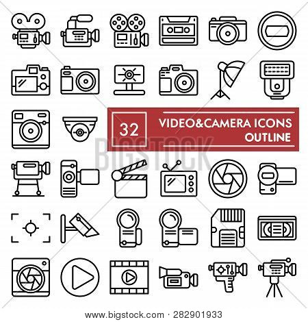 Videocamera Line Icon Set, Camera Symbols Collection, Vector Sketches, Logo Illustrations, Photo Sig