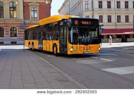 Malmo, Sweden - June 27, 2018: Yellow Public Transportation Bus In Service For Skanetrafiken On Line