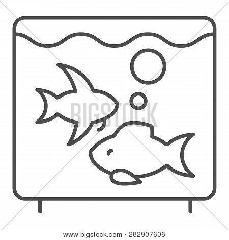 Aquarium Thin Line Icon. Fish In Aquarium Vector Illustration Isolated On White. Fishbowl Outline St