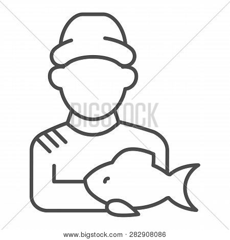 Fisherman With Fish Thin Line Icon. Fisher And The Catch Vector Illustration Isolated On White. Angl